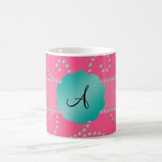 Monogram pink diamond swirls coffee mugs
