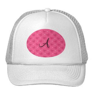 Monogram pink diamonds and bows trucker hat