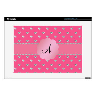 "Monogram pink diamonds hearts 15"" laptop decal"