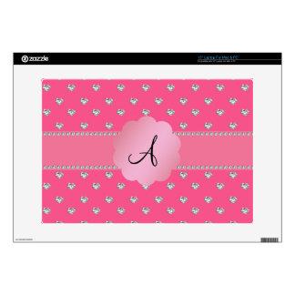 """Monogram pink diamonds hearts 15"""" laptop decals"""