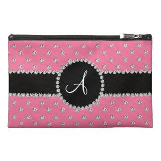 Monogram pink diamonds polka dots travel accessory bags