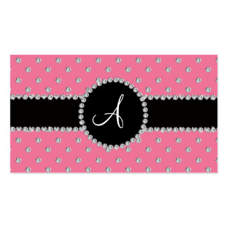 Monogram pink diamonds polka dots business card templates