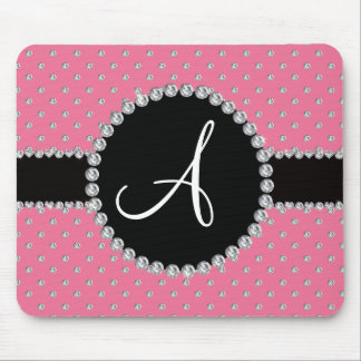 Monogram pink diamonds polka dots mouse pad