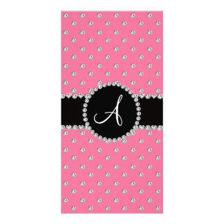 Monogram pink diamonds polka dots photo card