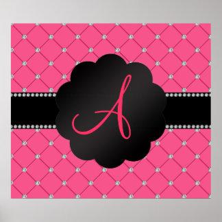 Monogram Pink diamonds Poster