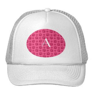 Monogram pink dog paw prints trucker hats