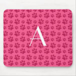 Monogram pink dog paw prints mouse pad