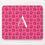 Monogram pink dog paw prints mousepads