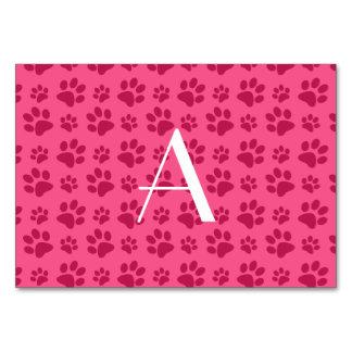 Monogram pink dog paw prints table card