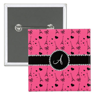 Monogram pink eiffel tower pattern 2 inch square button
