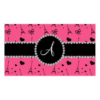 Monogram pink eiffel tower pattern business card