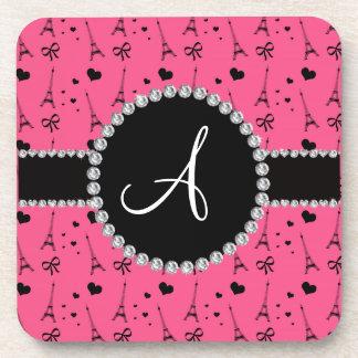 Monogram pink eiffel tower pattern coaster