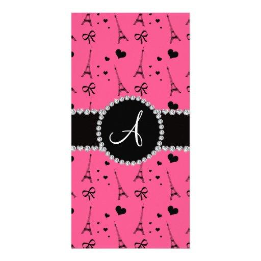 Monogram pink eiffel tower pattern picture card