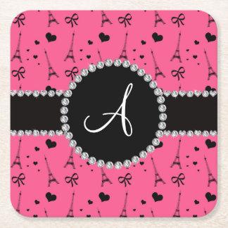 Monogram pink eiffel tower pattern square paper coaster