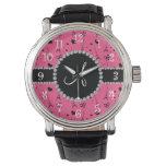 Monogram pink eiffel tower pattern wristwatches