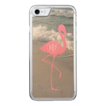 Beach Themed Monogram Pink Flamingo Beach Carved iPhone 7 Case