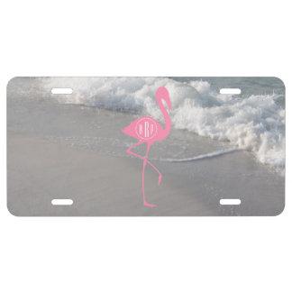 Monogram Pink Flamingo Beach License Plate