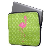 Monogram Pink Flamingo Lime Green Quatrefoil Computer Sleeve