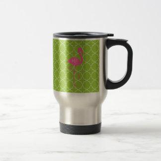 Monogram Pink Flamingo Lime Green Quatrefoil Travel Mug