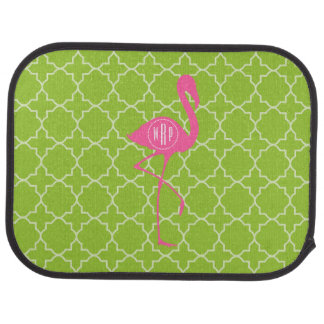 Monogram Pink Flamingo Lime Green Quatrefoil Floor Mat