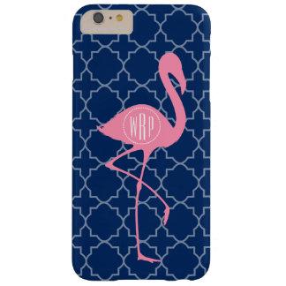 Monogram Pink Flamingo Navy Quatrefoil Barely There iPhone 6 Plus Case