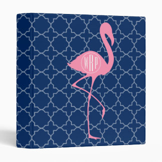 Monogram Pink Flamingo Navy Quatrefoil Binder