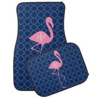 Monogram Pink Flamingo Navy Quatrefoil Car Mat