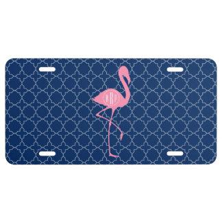 Monogram Pink Flamingo Navy Quatrefoil License Plate