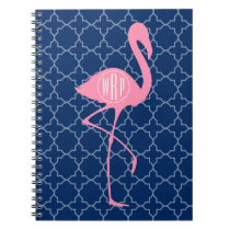 Monogram Pink Flamingo Navy Quatrefoil Notebook
