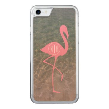 Beach Themed Monogram Pink Flamingo   Ocean Water Carved iPhone 7 Case