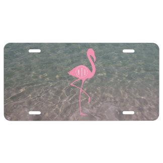 Monogram Pink Flamingo + Ocean Water License Plate