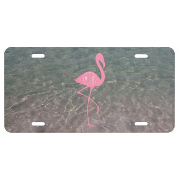 Beach Themed Monogram Pink Flamingo   Ocean Water License Plate