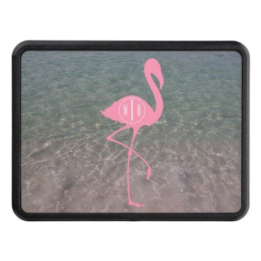 Beach Themed Monogram Pink Flamingo   Ocean Water Tow Hitch Cover