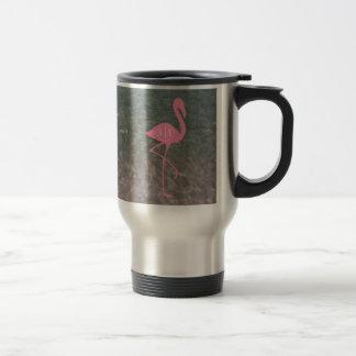 Monogram Pink Flamingo + Ocean Water Travel Mug