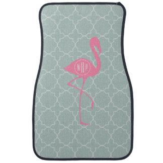 Monogram Pink Flamingo + Quatrefoil Floor Mat