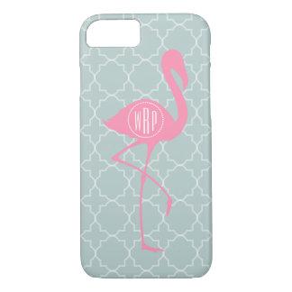 Monogram Pink Flamingo + Quatrefoil iPhone 7 Case