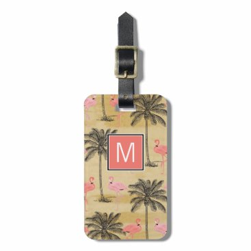 Monogram Pink Flamingos Bag Tag