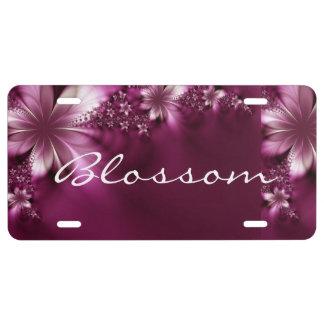 Monogram, Pink Floral Car License Plate