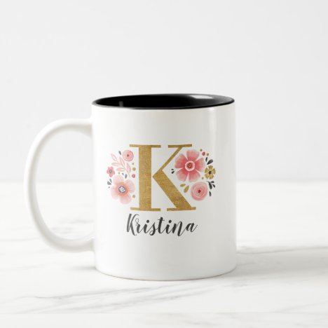 Monogram Pink Floral Initial Letter K Two-Tone Coffee Mug