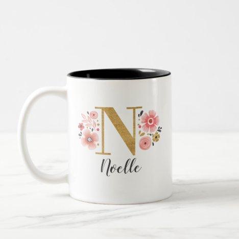 Monogram Pink Floral Initial Letter N Two-Tone Coffee Mug