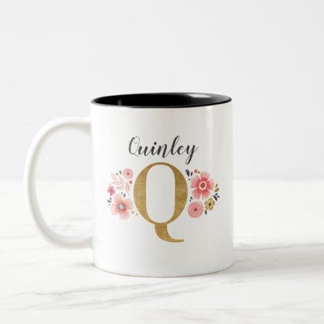 Monogram Pink Floral Initial Letter Q Two-Tone Coffee Mug