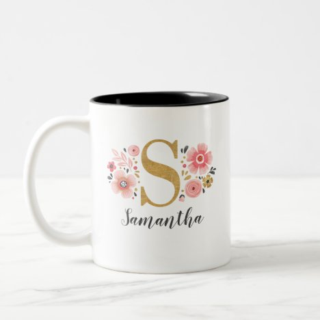 Monogram Pink Floral Initial Letter S Two-Tone Coffee Mug