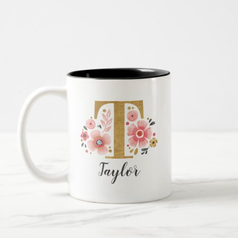 Monogram Pink Floral Initial Letter T Two-Tone Coffee Mug
