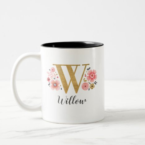 Monogram Pink Floral Initial Letter W Two-Tone Coffee Mug