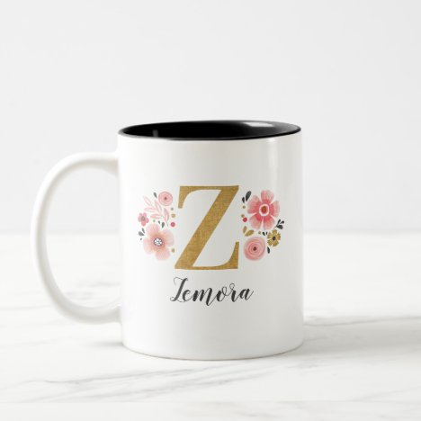 Monogram Pink Floral Initial Letter Z Two-Tone Coffee Mug