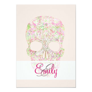 Monogram Pink Floral Paisley Sugar Skull Sketch Personalized Announcement