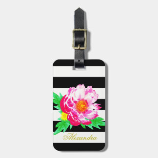 Monogram Pink Flower Black & White Luggage Tag