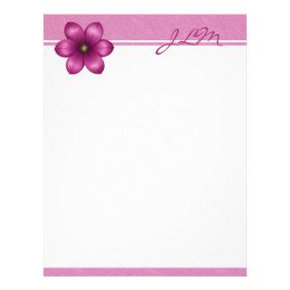 Monogram Pink Flower Letterhead