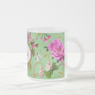 Monogram Pink Flowers Frosted Glass Coffee Mug