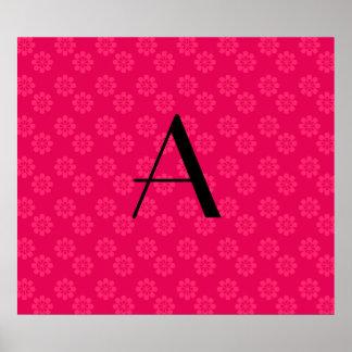 Monogram pink flowers pattern print
